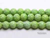 Wholesale 18mm Round Green Carved Turquoise Beads String