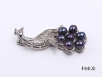 Peacock-shaped Gold Plated Brooch with  Black Oval Freshwater Pearls