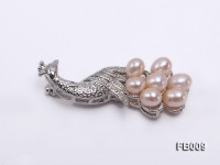 Peacock-shaped Gold Plated Brooch with  Pink Oval Freshwater Pearls
