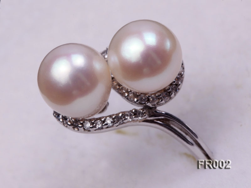 7.5mm white freshwater pearl ring
