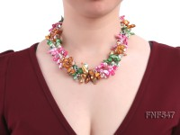 Three-strand Colorful Freshwater Pearl Necklace with Crystal Beads