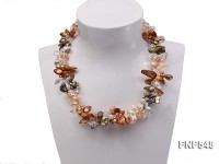 Three-strand Pink, Dark-green and Coffee Freshwater Pearl and White Crystal Beads Necklace