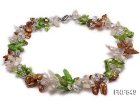 Two-strand White, Green and Coffee Freshwater Pearl and White Crystal Beads Necklace
