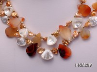 2 strand agate and white seashell necklace