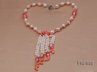 6-7mm White Freshwater Pearl and Pink Coral Beads Necklace
