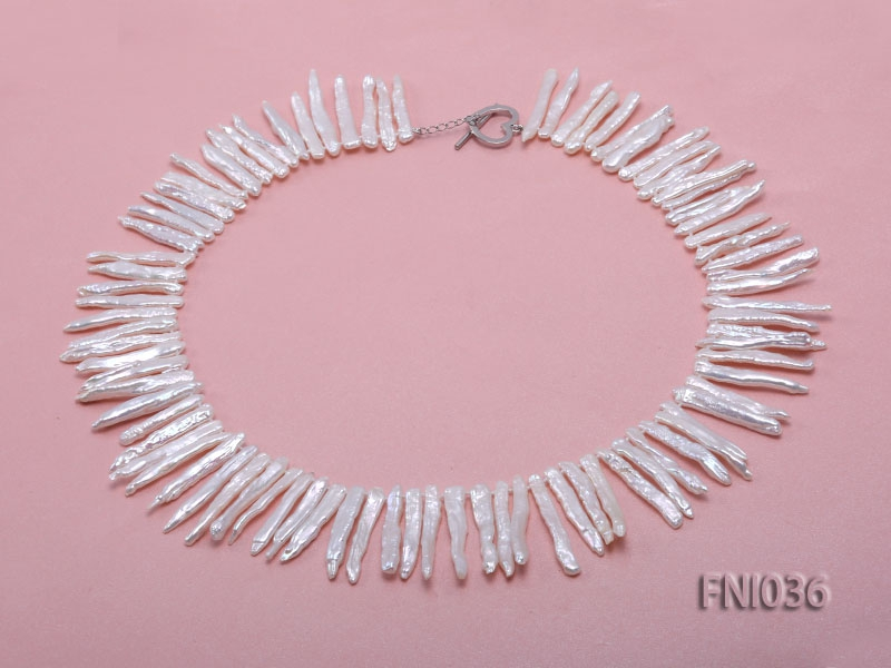 Classic 4x35mm White Stick-shaped Freshwater Pearl Necklace