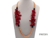 7-8mm golden oval freshwater pearl and red tooth-shaped coral and black agate necklace