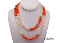 4-5mm white round pearls and pink coral three-strand necklace