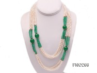 6-7mm white elliptical pearls dotted with green jade multi-strand necklace