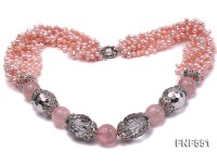 Multi-strand 4-5mm Pink Freshwater Pearl, Pink Crystal Beads and Synthetic White Crystal Necklace