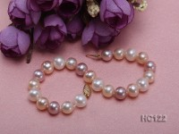 8-8.5mm white,pink and lavender round freshwater pearl bracelet with 14k gold clasp