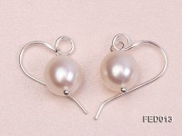 7.5-8mm White Oval Cultured Freshwater Pearl Earrings