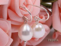 8-9mm White Oval Cultured Freshwater Pearl Earrings