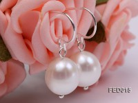 9-10mm White Oval Cultured Freshwater Pearl Earrings