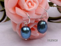 8-9mm Peacock Blue Drop-shaped Cultured Freshwater Pearl Earrings