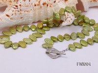 Classic 8x13mm Green Seed-shaped Freshwater Pearl Necklace