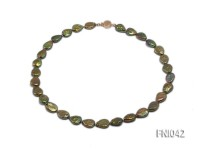 Classic 10x15mm Green Seed-shaped Freshwater Pearl Necklace