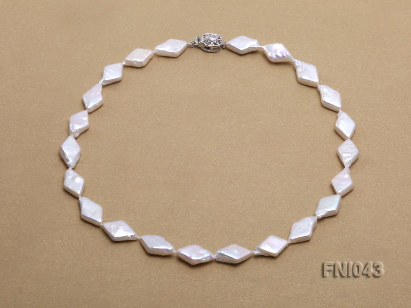 Classic 11x18mm White Rhombus Freshwater Pearl Necklace