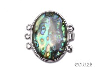 20x30mm Three-strand Gilded Clasp Inlaid with Elliptical Abalone Shell