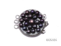 26x32mm Three-strand Gilded Clasp Inlaid with Black Pearls