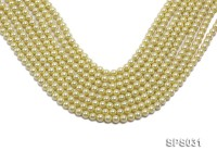 Wholesale 6mm Round Lemon Seashell Pearl String