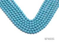 Wholesale 8mm Round Sky-blue Seashell Pearl String