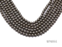 Wholesale 8mm Black Green Round Seashell Pearl String