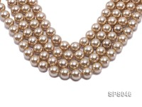 Wholesale 14mm Round Champagne Seashell Pearl String