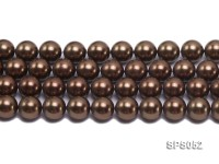 Wholesale 16mm Round Coffee Brown Seashell Pearl String