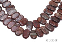 Wholesale 31x23mm Red Oval Picasso Stone String