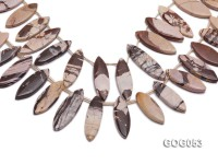 Wholesale 17x40mm Leaf-shaped Picasso Stone String