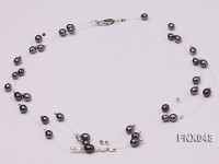 Three-strand 6x8mm Dark-purple Rice-shaped Cultured Freshwater Pearl Necklace