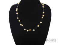 Six-strand 4-8mm Golden Flat Cultured Freshwater Pearl Necklace