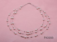 Three-strand 6x7mm White Rice-shaped Cultured Freshwater Pearl Necklace