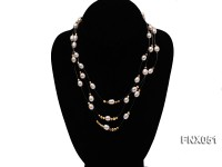 Three-strand 7x9mm White Oval Cultured Freshwater Pearl Necklace