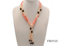4x3mm pink rice pearl and orange coral and faceted black agate and golden metal beads necklace
