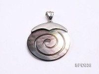 37x37mm Spiral Black Shell Pendant