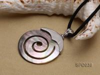 37x37mm Spiral Black Shell Pendant
