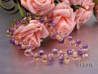 5×7.5mm Yellow and Purple Faceted Crystal Bracelet