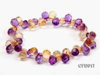 6×8.5mm Yellow and Purple Faceted Crystal Elasticated Bracelet