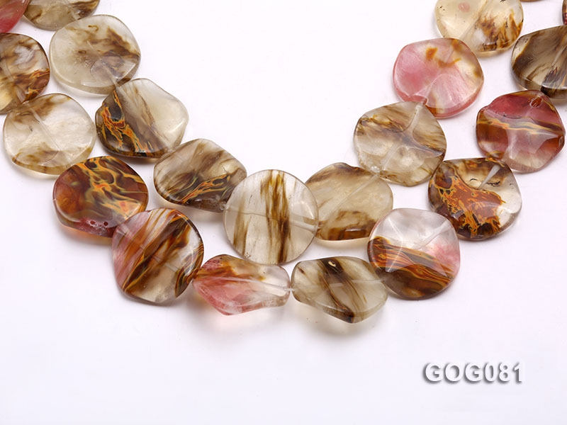 Wholesale 30mm Disc-shaped Semiprecious Stone String