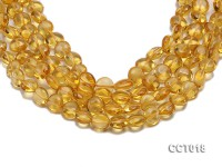 Wholesale 11.5mm Button-shaped Translucent Citrine Beads String