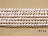 Wholesale 6×7.5mm white Flat Freshwater Pearl String