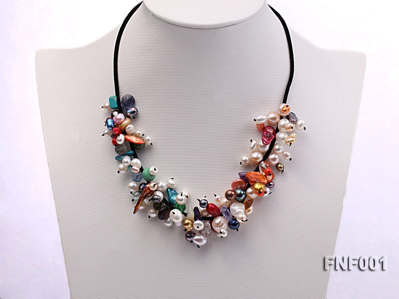 Colorful Round and Baroque Freshwater Pearl Necklace with Crystal and Coral Beads
