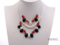 Three-row 6-7mm Freshwater Pearl, 9-10mm Black Agate Beads and Red Coral Sticks Necklace)