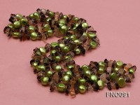 7-8mm green flat freshwater pearl and crystal chips necklace