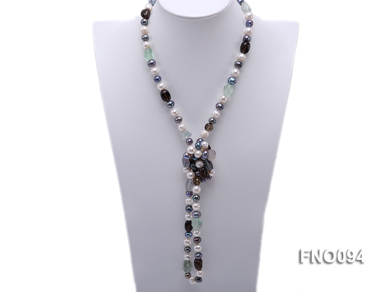 8-10 mm multicolor oval freshwater pearls and irregular amethyst necklace
