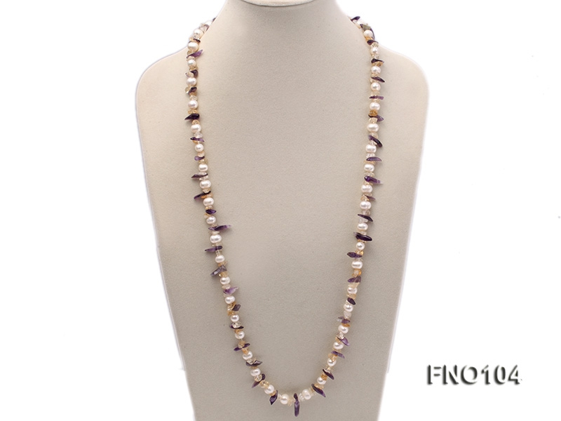 8-10mm white round freshwater pearls and irregular yellow and purple crystal opera necklace