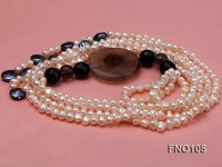 5-6mm white oval freshwater pearl and coin pearl and agate necklace