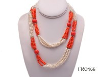 4-5mm whiter round pearl and pink round coral opera necklace